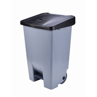 Waste Container 80Litre Grey with Black Lid Foot Pedal Operated  Wheels for Easy Manoeuvrability. Supplied with Waste Identification Stickers High Density Polyethylene 490x415x735mm