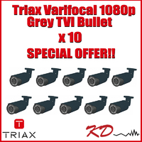 Triax Varifocal 1080p TVI Bullet Grey X 10