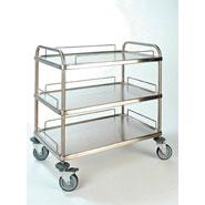 Bourgeat Trolley S/S 3Tier 84x54x96cm w Breaks & Guard Rails