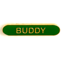 Buddy - Bar Shaped School Badge (Green)