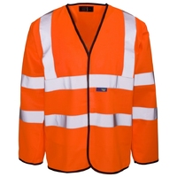 Supertouch Hi-Visibility Long Sleeved Vest - Velcro, Orange