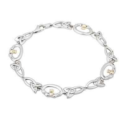sterling silver 10 karat gold claddagh bracelet s5746 from Solvar