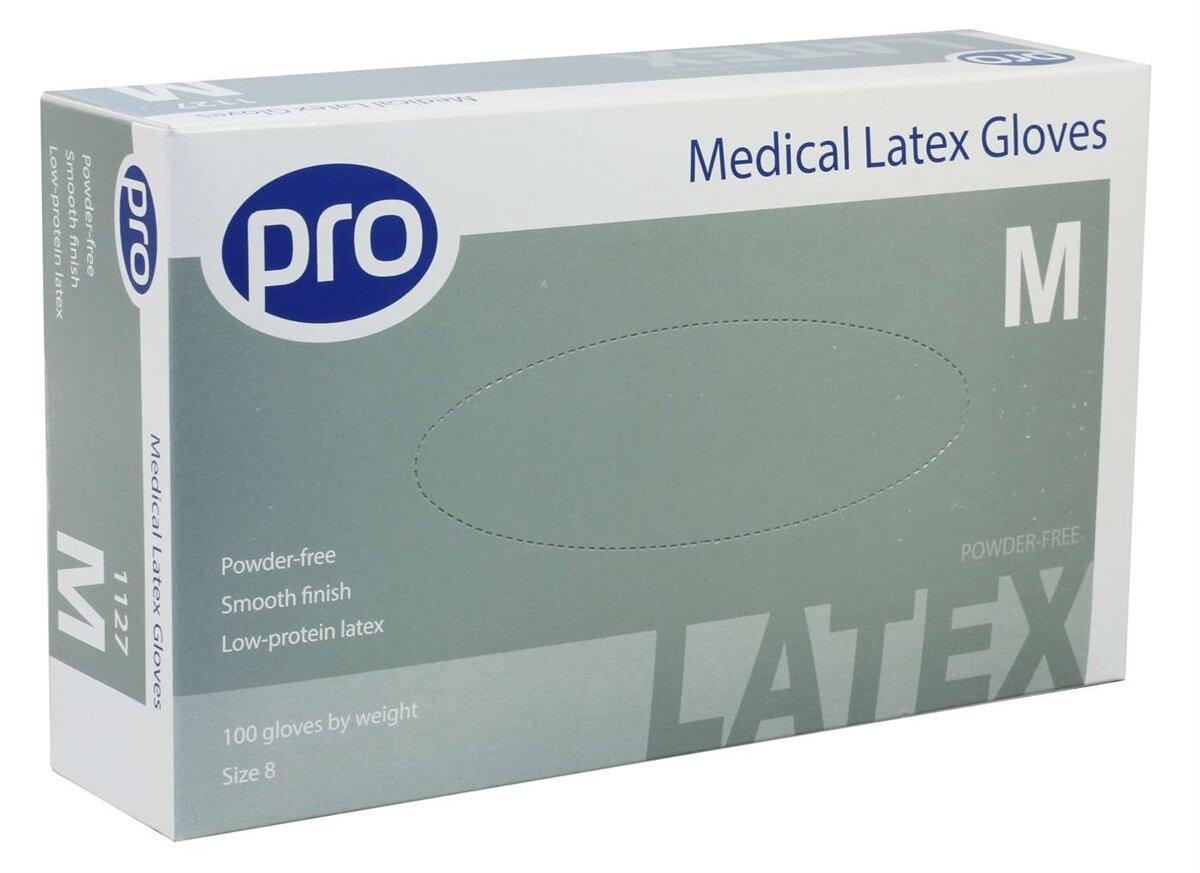 PRO PRO Latex Powder Free Gloves Pk100 Medium