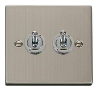 Click Deco Victorian Stainless Steel 2Gang 2 Way Toggle Switch | LV0101.1864