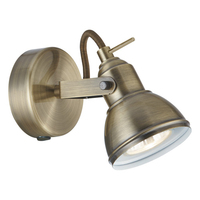 Focus Antique Brass Wall Spotlight