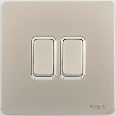 Schneider Ultimate Screwless 2Gang 2way Switch Pearl Nickel white|LV0701.0907
