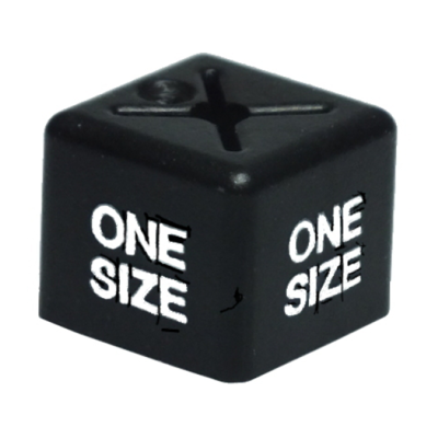 SHOPWORX CUBEX 'One Size' Unisex size cubes - White on Black (Pack 50)