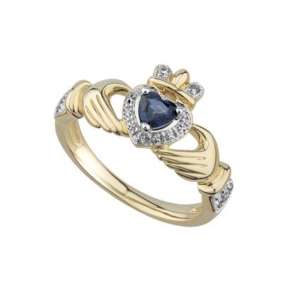 14K SAPPHIRE & DIAMOND CLADDAGH RING
