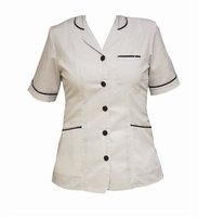 Homecare White Tunic With Navy Trim & Collar