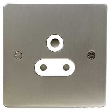 Schneider Ultimate Low Profile 5Amp socket Brushed Chrome with White Insert   LV0701.0011