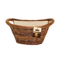 Natural Wicker Oval Basket with Jute Liner