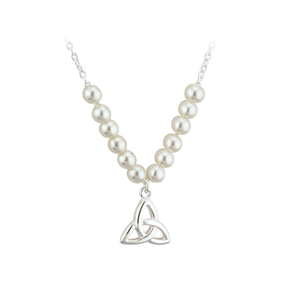 RHODIUM PLATED PEARL TRINITY KNOT COMMUNION NECKLET (BOXED)