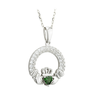 EMERALD CLADDAGH PENDANT (MAY BIRTHSTONE) (BOXED)