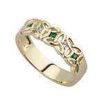 nine karat Gold Emerald And Cubic Zirconia Trinity Knot Ring S2630 from Solvar Jewellers, Ireland