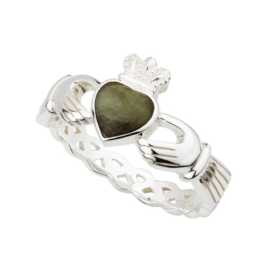 STERLING SILVER CONNEMARA MARBLE CLADDAGH WEAVE RING