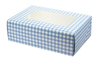 CUPCAKE/MUFFIN-GINGHAM-BLUE 25 PER PACK