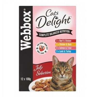 Webbox Cat Delight in Jelly Pouches 4 x 12 x 100g