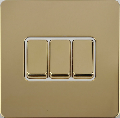 Schneider Ultimate Screwless 3Gang 2way Switch Polished Brass Whi|LV0701.0911