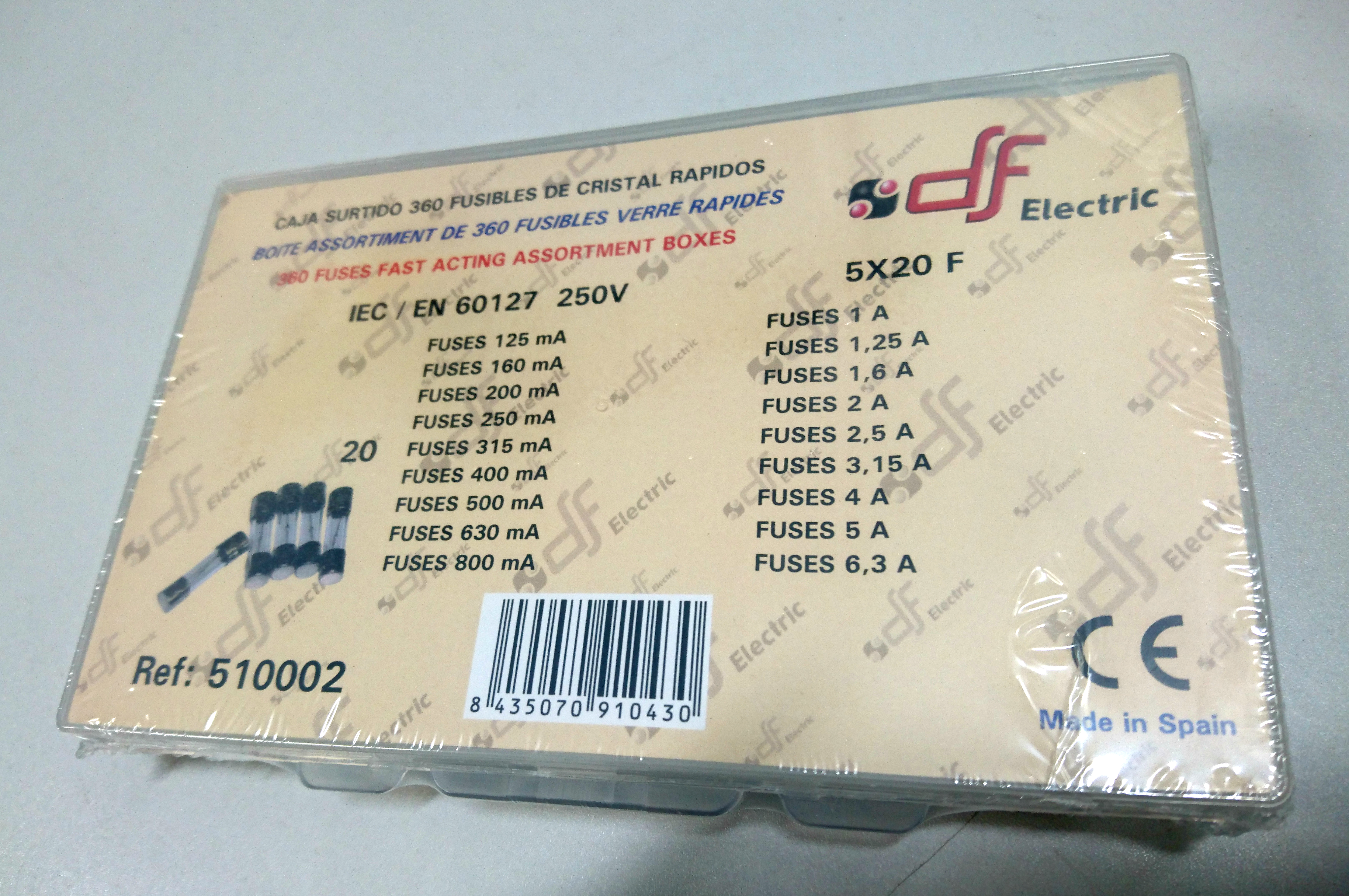 Fuse Selection Box. 5 * 20mm 100ma - 6.3A