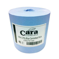Cara Coreless Centrepull Roll, Blue, 6/Case