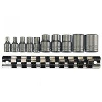 TENGTOOL M3814 10PC 1/4'' & 3/8'' DR TX-E SOCKET CLIP RAIL SET (E4-E18)