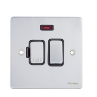 Schneider Ultimate Low Profile Fused Spur switched with Neon Brushed Chrome with Black Insert  | LV0701.0031