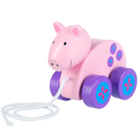 wooden pull along toy - pig
