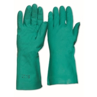 Nitrile Chemical Glove Flock Lined Green 33cm