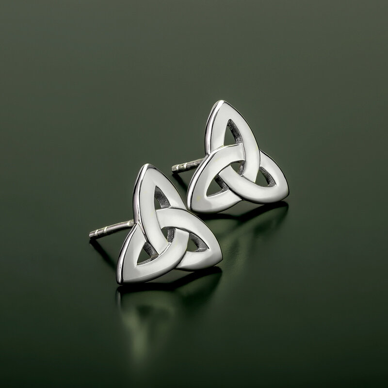 styled image of Solvar silver Trinity Knot stud earrings S3644 on green background