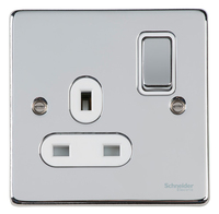 Schneider Ultimate Low Profile 1gang socket Polished Chrome with White | LV0701.0045