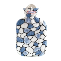 Cuddly Plush Covered 2L Hot Water Bottle Stones White/Blue