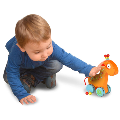 Wooden toddler giraffe push and roll toy - toddler playing with it
