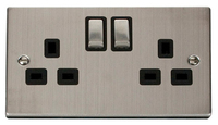 Click Deco Victorian Stainless Steel with Black Insert Twin Switched Socket | LV0101.0084