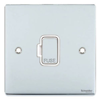 Schneider Ultimate Low Profile Fused Spur wuthout siwtch Polished Chrome with White Insert | LV0701.0233
