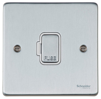 Schneider Ultimate Low Profile Fused Spur without switch Brushed Chrome with White Insert  | LV0701.0216