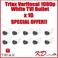 Triax Varifocal 1080p TVI Bullet White X 10