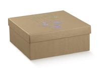 BOX & LID NAT.MET XMAS BAUBLES 30X30X12CM