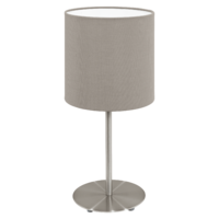 EGLO Pasteri Satin Nickel with Taupe Shade Table Lamp | LV1902.0083