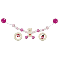 Pink teddy bear pram chain