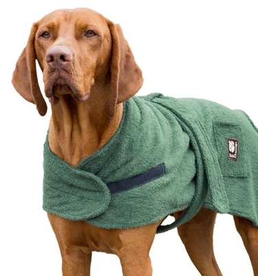"Danish Design Towelling Dog Robe 28"" Green x 1"