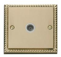 Click Deco Georgian Cast Brass with White Insert Single Coaxial Socket | LV0101.0072