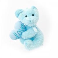 """TEDDY 9"""" BLUE W/HEART  SOFT TOY"""