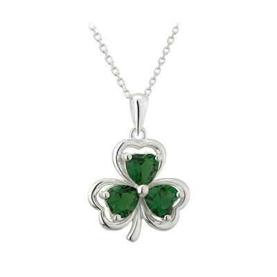 sterling silver green crystal shamrock pendant s46359 from Solvar