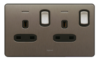 Legrand Synergy Double 13amp Socket Swiched with neon | LV0501.3239
