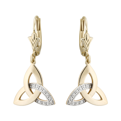 9K DIAMOND TRINITY DROP EARRINGS