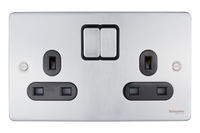 Schneider Ultimate Low Profile 2gang socket Brushed Chrome with Black Insert | LV0701.0028
