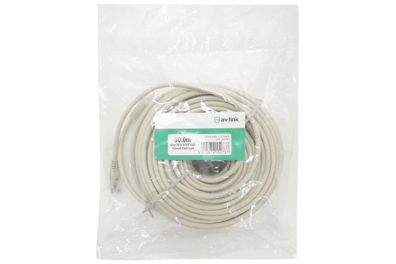 30.0m Grey CAT5e U/UTP RJ45 Network Patch Lea