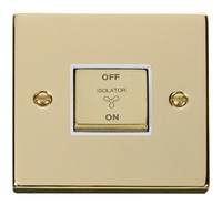 Click Deco Victorian Polished Brass with White Insert Fan Isolator Switch   LV0101.0162