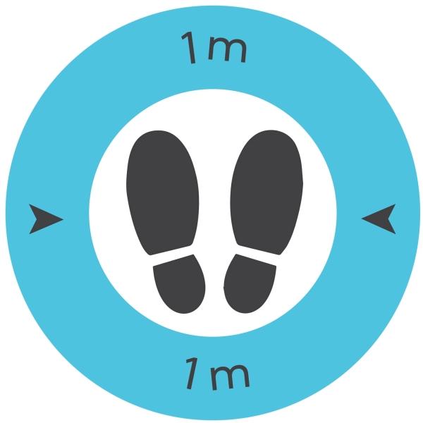 Safe Distance 1 Metre Floor Graphic (Pack of 10)