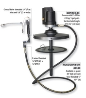 Groz Air Operated Grease Ratio Pump 50:1  for 120 lb / 50 kg/ 16 gal. Pails . Complete with Drum cover , follower plate , high p